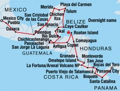 Enjoy a Central American odyssey on this adventure from Mexico's capital to the home of the Panama Canal. Travel through Mexico, Belize, Guatemala, Honduras, Nicaragua, Costa Rica and Panama on a tour through remote villages and ruins.