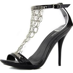 Ankle Strap Stilettos Rhinestone Evening Gown Dance High Heel Sandal Shoes Black