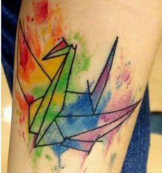 *rainbow water color oragami crane :)