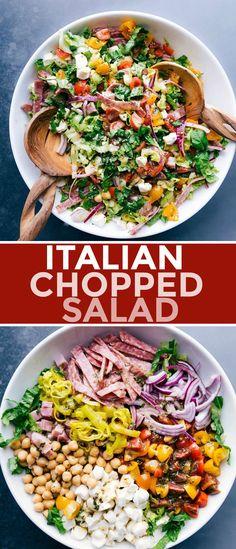 Italian Chopped Salad, Chopped Salad Recipes, California Pizza Kitchen, Healthy Salads, Healthy Eating, Healthy Recipes, Biscuits, Italian Recipes, Basil Recipes