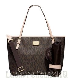 Michael Kors Jet Set Baby Diaper Bag Handbag Purse Brown PVC NWT #MichaelKors