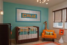 turquoise baby room with orange accent - Google Search