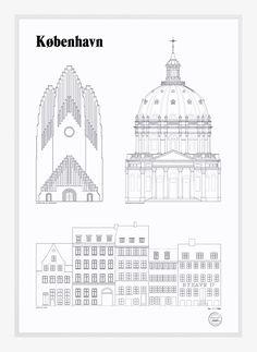 København Landmarks by Studio Esinam | Poster from theposterclub.com