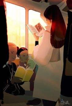 The works of a gifted illustrator, Pascal Campion. Reading Art, Woman Reading, I Love Reading, Pascal Campion, Train Illustration, Digital Illustration, World Of Books, I Love Books, American Artists