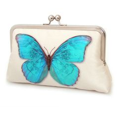 Clutch bag, silk purse, wedding bag, bridesmaid gift, BLUE BUTTERFLY (320 SAR) ❤ liked on Polyvore featuring bags, handbags, clutches, blue hand bag, purse clutches, blue purse, handbags purses and butterfly purse