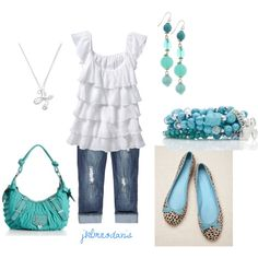 Summer Blues, created by jklmnodavis.polyvore.com  I just adore those shoes and that top. I hope that they're still available, but if not, I think that I can fix the ballet flats up from a regular leopard pair!