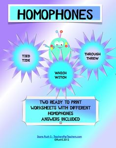 FREE Homophones ready to print student worksheets with answers.