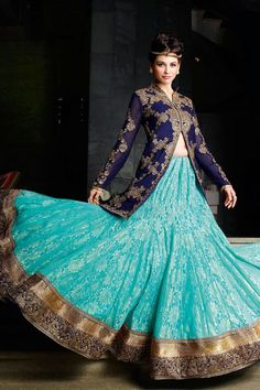 Blue Net and Jacquard Lehenga Choli online shopping - Z2344PS2-2 - Zohraa.com