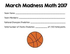March Madness Math Basketball Tournament Project 2017 {Common Core Aligned}I hope you enjoy using this March Madness math activity to engage students during the basketball tournament! Students predict the National Champion through the process of elimination when they predict the winning teams for each game in each round of the tournament.