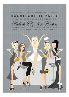 i love the idea of personalizing your bach invites so the bride looks like you and the maids look like themselves.  how cool would that be??  maybe i could pay @Danielle Hammon could make this for me!