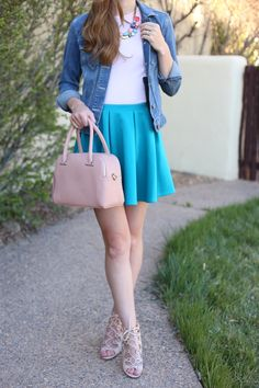 Cute Dressy Spring Outfit | turquoise skater skirt blush t-shirt jean jacket lace up heels and pink purse stoned statement necklace | best fashion blogs  See more outfit ideas here: http://www.amodernmomblog.com