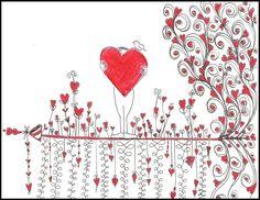 Heart Flowers of Love Doodle