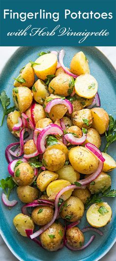 Light and easy potato salad or side dish, these fingerling potatoes are boiled then tossed with an herb vinaigrette, onions, and parsley. Perfect for a side or salad! #glutenfree On SimplyRecipes.com