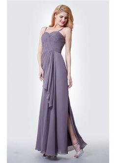 Floor Length Split Chiffon Gray paghetti Straps A-line Zipper  Sleeveless Ruched Bridesmaid Dresses