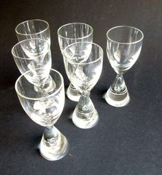 6 Princess iconic crystal schnapps, shot, cordial glasses,  designed 1957 by Bent Severin,  made by Holmegaard's Glasvaerk. Price is per 6. by SCALDESIGN on Etsy