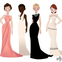 Oscar Dresses (Anna Kendrick, Lupita Nyong'o, Cate Blanchett, and Julianne… Character Design Cartoon, Character Design Animation, Character Drawing, Look Fashion, Fashion Art, Fashion Design, Girl Cartoon, Cartoon Art, Dibujos Cute