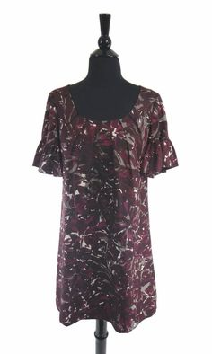 c881c9fac7b7f2 Trina Turk Burgundy Multi-Color Women s Short Ruffle Sleeve Shift Dress Size  8