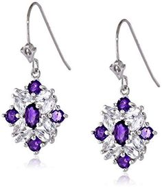 Sterling Silver Two-Tone African Amethyst and White Topaz Cluster Dangle Earrings
