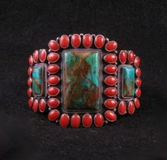 *WOW* Kirk Smith Navajo Pilot Mtn Turquoise Coral Sterling Silver Bracelet
