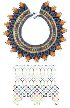 Beaded beads tutorials and patterns, beaded jewelry patterns, wzory bizuterii koralikowej, bizuteria z koralikow - wzory i tutoriale Diy Necklace Patterns, Beaded Jewelry Patterns, Beading Patterns, Beaded Crafts, Bead Jewellery, Beading Tutorials, Loom Beading, Bead Art, Bead Weaving