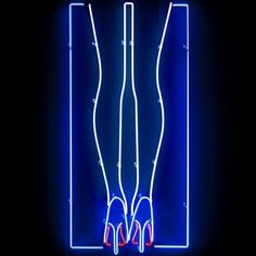Neon supermodel legs and louboutins  Graphic neon illustration by @malikafavre for her most recent solo exhibition in London. Fabrication by Kemp London.
