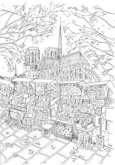 coloriage Les bouquinistes devant Notre-Dame de Paris