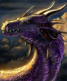 Purple Dragon - Colour this a deep ocean trench blue and add more head crests and horns.and this DEFINITELY looks like evil dragon hybrid, Varkul, killer of his own kind. Magical Creatures, Fantasy Creatures, Fantasy World, Fantasy Art, Dragon Medieval, Dragon Dreaming, Dragon Artwork, Cool Dragons, Beautiful Dragon