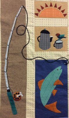 Fishing Rod and Fish - The Great Outdoors Block of the Month from Sew Creative in Ashland, OR. Fish Quilt Pattern, Barn Quilt Patterns, Applique Wall Hanging, Quilted Wall Hangings, Sewing Crafts, Sewing Projects, Sewing Tutorials, Applique Quilts, Wool Applique