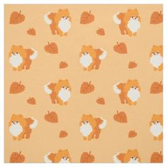 Kawaii Pomeranian Cartoon Dog Fabric