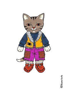 Karen`s Paper Dolls: Cat Brother 1-3 Paper Doll to Print in Colours. Kattebror 1-3 påklædningsdukke til at printe i farver.