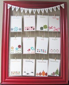 birthdays, anniversaries, important dates kept here ~ LOVE this idea! Keeps everything in plain view ~ NO searching :o/ ~ AND this can be adapted to your 'style' & color theme ❤ Student Birthdays, Family Birthdays, Birthday Wall, Diy Birthday, Birthday List, Perpetual Birthday Calendar, Birthday Bulletin Boards, Birthday Charts, Printable Calendar Template