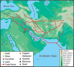 A map depicting the extent of both maritime and land trade routes in Sumer into the Akkadian period.