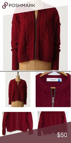 Anthropologie Sparrow Zipped Sweater ⚡️FLASH SALE! Buy 2 and save 30%!⚡️Dark red anthropologie wool sweater, perfect condition! Anthropologie Sweaters