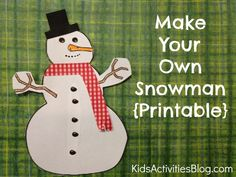 Super simple Snowman Printable Craft to do with your kids.  I ended up printing off an additional one for me because it was something we all did together at the kitchen table.