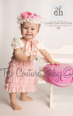 Creamy Salmon Ruffle Lace Dress from The Couture Baby...I want this in Journee's closet now!!!!