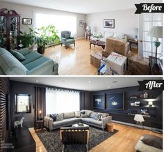 Dramatic Living Room Before And After Living Room Makeovers, Living Room  Remodel, Home Living