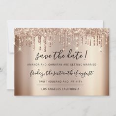 Save The Date Rose Gold Drips Spark Glitter Christmas Wedding Invitations, Gold Wedding Invitations, Zazzle Invitations, Christmas Stationery, Invites, Party Invitations, Pink Save The Dates, Wedding Save The Dates, Save The Date Cards