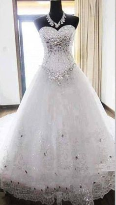 Beautiful jeweled princess ball gown wedding dress