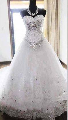 Beautiful jeweled princess ball gown wedding dress