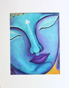 """Buddha print, Buddha art, Buddha handmade, Buddha wall art, Buddhism, Spiritual art, Zen, """"Blue Buddha"""" 10x8 Photo Print (unmatted/unframed)"""