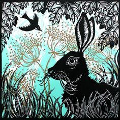 Devon artist Kerry Tremlett 'hare in the cow parsley' greeting card