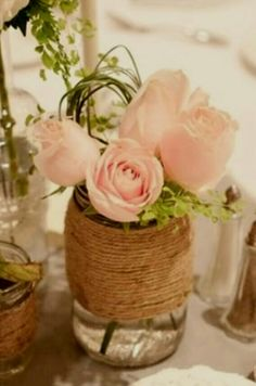 Mason jar flower centerpieces