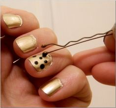 Use a bobby pin to make polka dots on your nails - must try this! (probably easier than a pin needle)