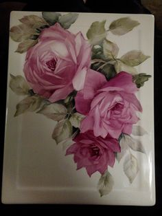 Ruby roses by June Watson painted on porcelain.