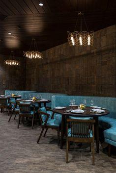 Beautiful restaurant interior design with stone cladding giving it a vintage looks #restaurantdesign