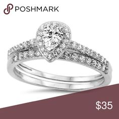 sterling silver 925 pear shape bridal set Sterling silver 925 bridal set ring white gold paer shape cubic zirconia center stones engagement ring 2 piece ring wedding set halo 1 mm stones excellent quality .rhodium for anti turnish Jewelry Rings