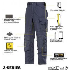 Craftsmen holster pocket trousers that are ideal for everyday use to provide working comfort. The loose fit trousers are constructed to cater to working in hot climates and they come with enhanced protective features. Snickers Workwear, Adidas Adicolor, Phone Pen, Work Trousers, Loose Ends, Junior, Work Wear, Parachute Pants, Gray