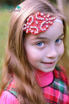 Red Rhinestone Headband  Wedding Headband  by PACraftsfromtheHeart