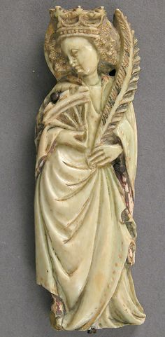 Ivory Plaque with Saint Catherine of Alexandria Date: ca. 1400, Paris, France.