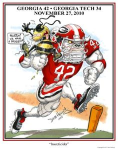 "UGA print featuring Justin Houston entitled ""Insecticider"" by Dave Helwig @ BetweenTheHedgesS... UGA DAWGS Georgia Bulldogs Football"